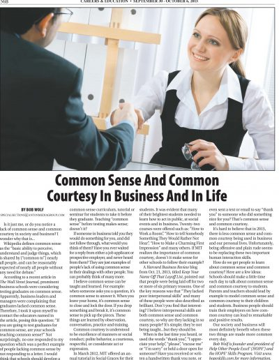 Common Sense and Common Courtesy in Business and In Life